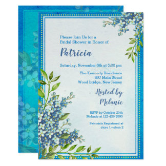 Elegantes blaues BlumenBrautparty Karte