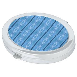 Elegantes blaues geometrisches mit Streifen Schminkspiegel