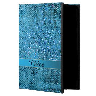 Elegantes blaues Glitter-Monogramm-iPad Air ケース
