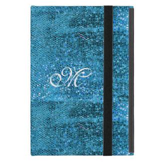 Elegantes blaues Glitter-Monogramm iPad Mini Etuis