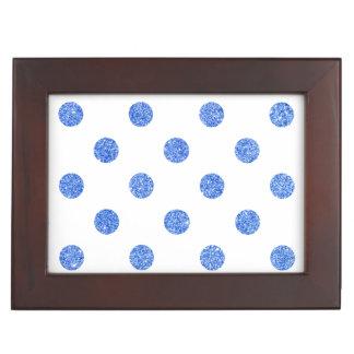 Elegantes blaues Glitter-Polka-Punkt-Muster Erinnerungsdose