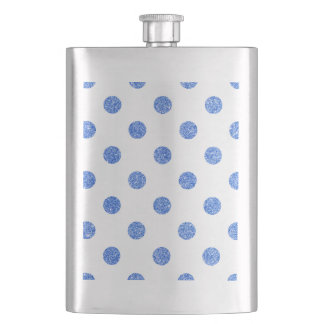 Elegantes blaues Glitter-Polka-Punkt-Muster Flachmann