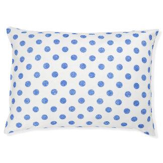 Elegantes blaues Glitter-Polka-Punkt-Muster Haustierbett