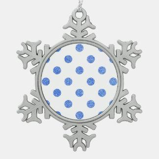 Elegantes blaues Glitter-Polka-Punkt-Muster Schneeflocken Zinn-Ornament