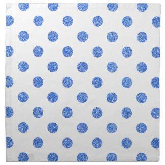 Elegantes blaues Glitter-Polka-Punkt-Muster Serviette