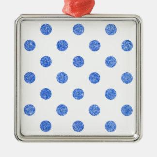Elegantes blaues Glitter-Polka-Punkt-Muster Silbernes Ornament