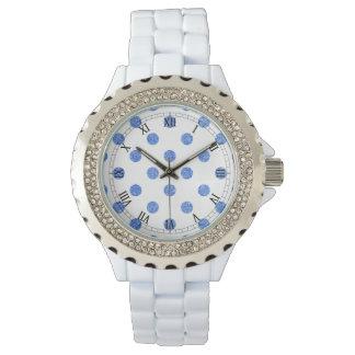 Elegantes blaues Glitter-Polka-Punkt-Muster Uhr