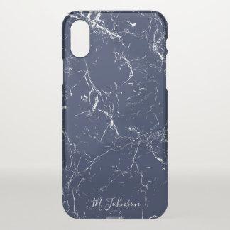 Elegantes blaues Marmorierungpersonalisiertes iPhone X Hülle