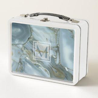 Elegantes blaues natürliches metall lunch box