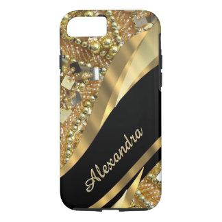 Elegantes bling Schwarzes und Gold des iPhone 8/7 Hülle