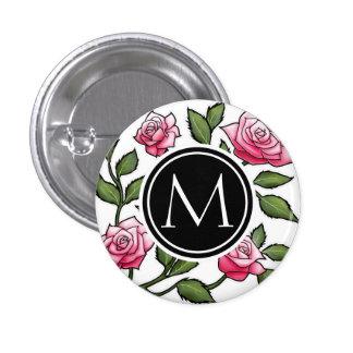 Elegantes Blumen- und Monogramm Runder Button 2,5 Cm
