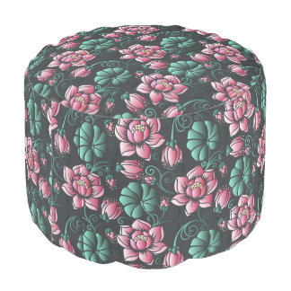 Elegantes Blumenmuster rosa Lotus-Motivs Hocker