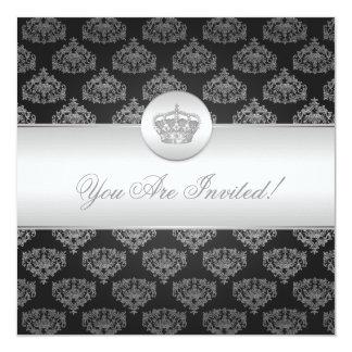 Elegantes Brautparty-königliches Kronen-Schwarzes Quadratische 13,3 Cm Einladungskarte