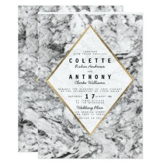 Elegantes Chic-Imitat-GoldSchwarz-weiße 12,7 X 17,8 Cm Einladungskarte