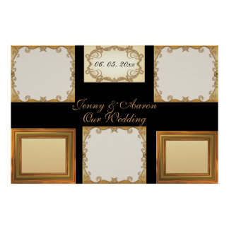 Elegantes Chic stilvolles goldenes Foto gestaltet Plakatdrucke