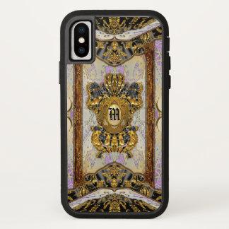 Elegantes Damast-Monogramm Passementerie-Madeline iPhone X Hülle