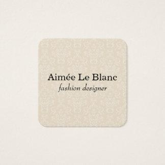 Elegantes Damast-Muster (Creme) Quadratische Visitenkarte