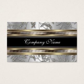 Elegantes Damast-Silber-Zinn-Chrom-Metallschwarzes Visitenkarten