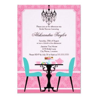 Elegantes Damast-und Leuchter-rosa Aqua-Tee-Party Personalisierte Einladungskarten