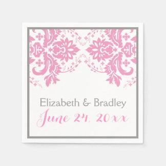 Elegantes Damastmotivrosa, graue Hochzeit Papierservietten