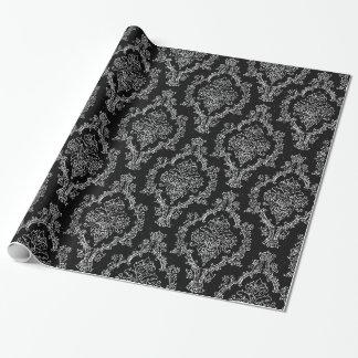 Elegantes Damastschwarz-Packpapier Geschenkpapierrolle