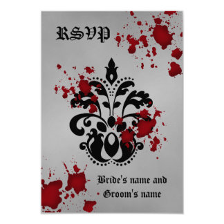 Elegantes Damastschwarzes graues Halloween-uAwg 8,9 X 12,7 Cm Einladungskarte