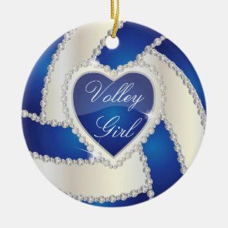 Elegantes Diamant-Herz-dunkelblauer Volleyball Keramik Ornament