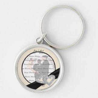 Elegantes Diamant-Schwarz-Band-runde Schlüsselanhänger
