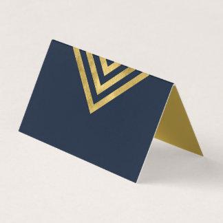 Elegantes dunkelblaues und Imitat-Gold geometrisch Platzkarte
