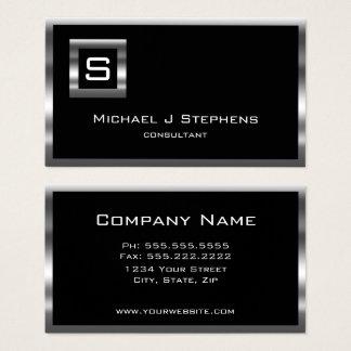 Elegantes einfaches Schwarz-und Chrom-Monogramm Visitenkarte