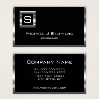Elegantes einfaches Schwarz-und Chrom-Monogramm Visitenkarten