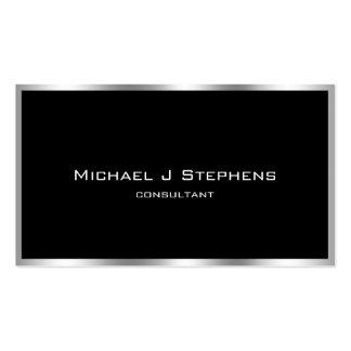 Elegantes einfaches Schwarzes und Chrom Visitenkarten Vorlagen