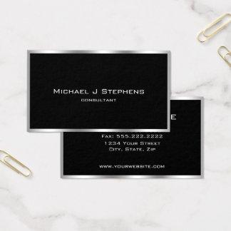 Elegantes einfaches silbernes Grenzschwarzes und Visitenkarte