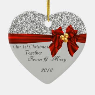 Elegantes erstes Weihnachten verzieren zusammen Keramik Ornament