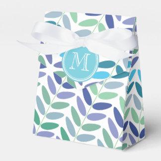 Elegantes Farn-Muster-blaues Grün-Blätter Geschenkschachtel