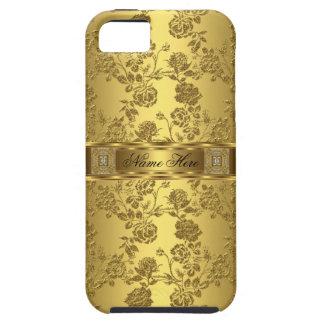 Elegantes, florales Gold-Damast-Muster iPhone 5 Etuis