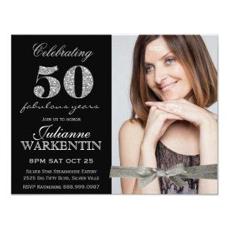 Elegantes Foto-50. Geburtstags-Feier 10,8 X 14 Cm Einladungskarte