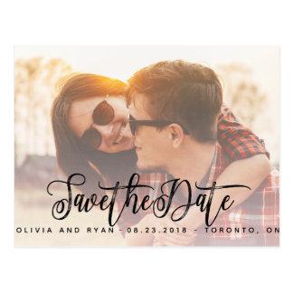 Elegantes Foto, das Save the Date wedding ist Postkarte
