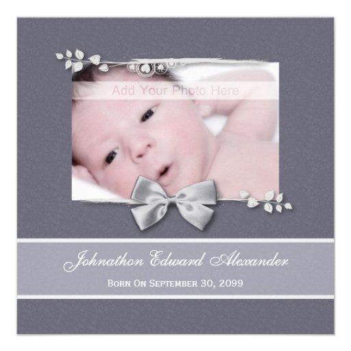 Elegantes Foto-Geburts-Mitteilungs-Silber-Band Personalisierte Einladungen