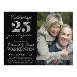 Elegantes Foto-Silber-25. Hochzeits-Jahrestag Personalisierte Einladungskarte