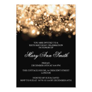 Elegantes Geburtstags-Party-Goldfunkelnde Lichter 12,7 X 17,8 Cm Einladungskarte