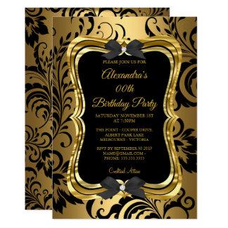 Elegantes Geburtstags-Party-Goldgoldenes schwarzes Karte