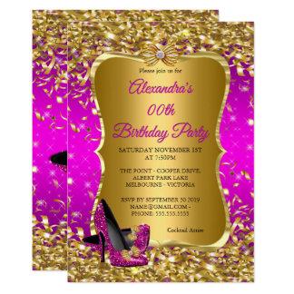 Elegantes Geburtstags-Party-Rosa-magentarotes Karte