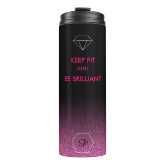 Elegantes geeignetes Zitat der schwarzen und rosa Thermosbecher