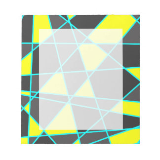 elegantes geometrisches helles Neongelbes und Notizblock