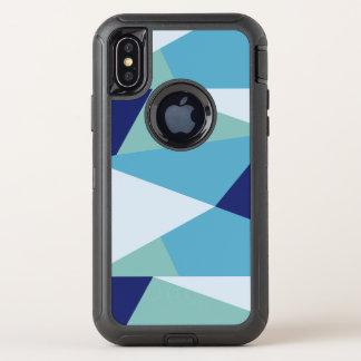 Elegantes geometrisches Marineblau und OtterBox Defender iPhone X Hülle