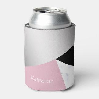 Elegantes geometrisches silbernes weißes rosa dosenkühler