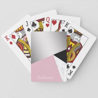 Elegantes geometrisches silbernes weißes rosa spielkarten