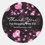 Elegantes Geschäft danken Ihnen rosa Glitter-Herze Runde Aufkleber