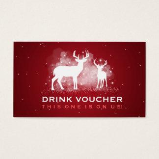 Elegantes Getränk-Beleg-Winter-Rotwild-Schein-Rot Visitenkarte